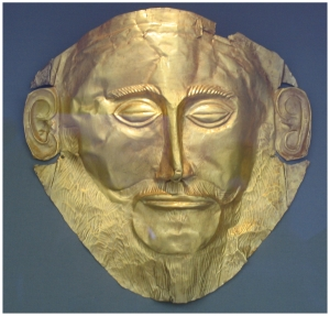 Golden Mask from Mycenae in the National Archaeological Museum in Athens photographed by Donna Dailey for Greece Travel Secrets