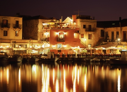 Rethymnon Harbour at night-time, from https://www.greece-travel-secrets.com/Rethymnon.html