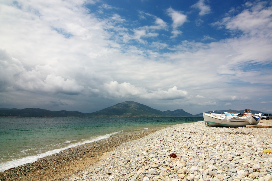 A pebble beach on Evia in Greece, https://www.greece-travel-secrets.com/Evia.html