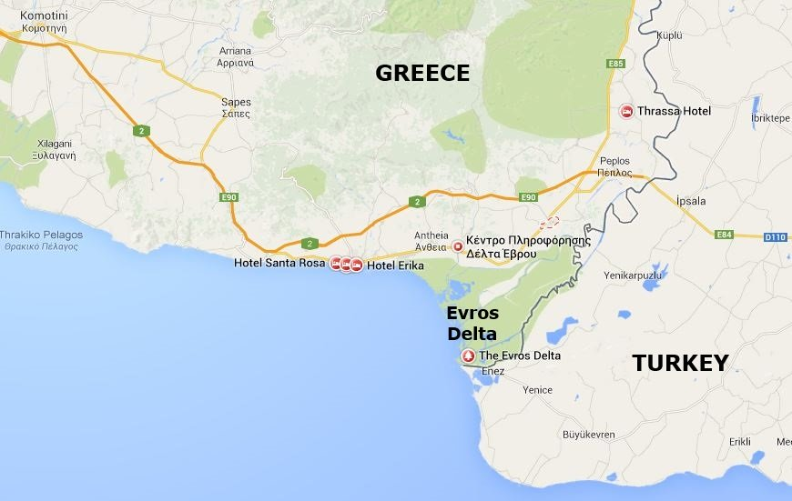 Google Map showing the Evros Delta National Park in Thrace, Greece, from http://www.greece-travel-secrets.com/Evros-Delta.html