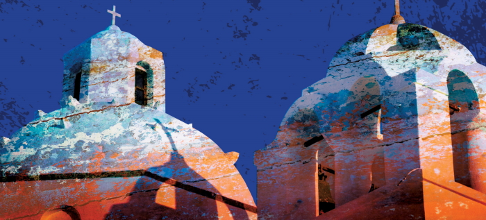 Detail from the cover of the romantic thriller Fire on the Island by Timothy Jay Smith, set on Lesbos