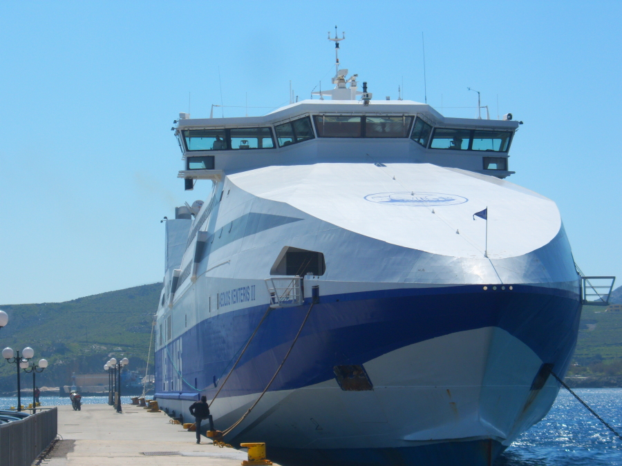 Ferry in the Harbour on Syros while island hopping in Greece