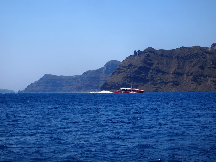 A ferry in the Aegean Sea, Island Hopping in Greece