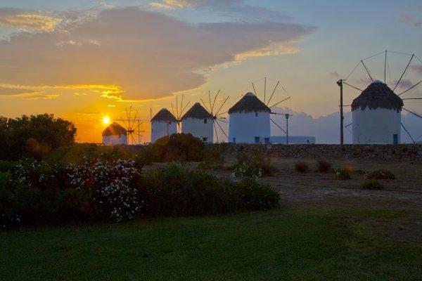 Windmills on Mykonos at Sunset