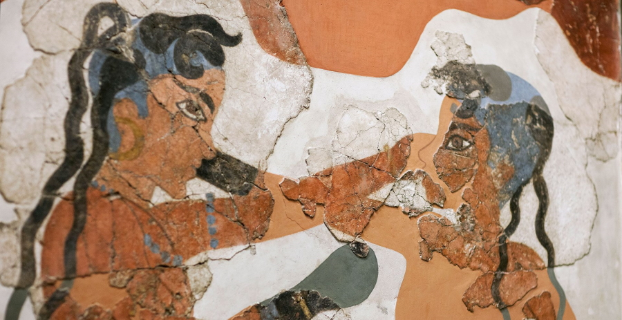 The Boxers fresco from Thira