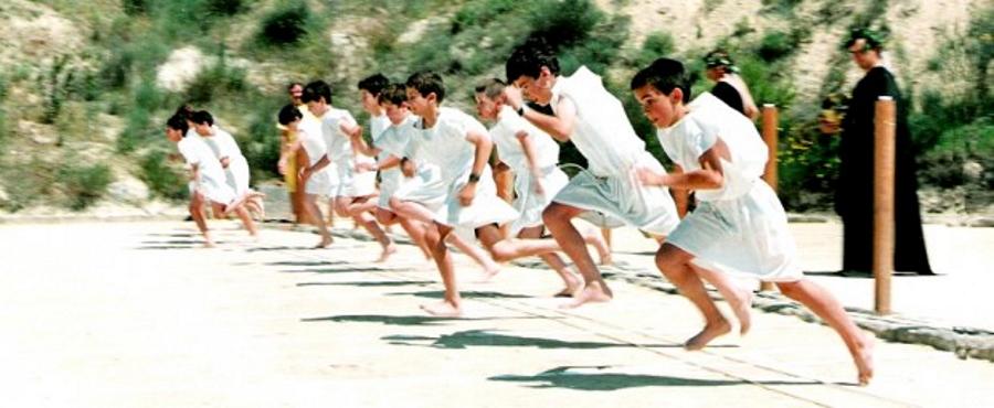 Boys running in the Nemean Games in Greece