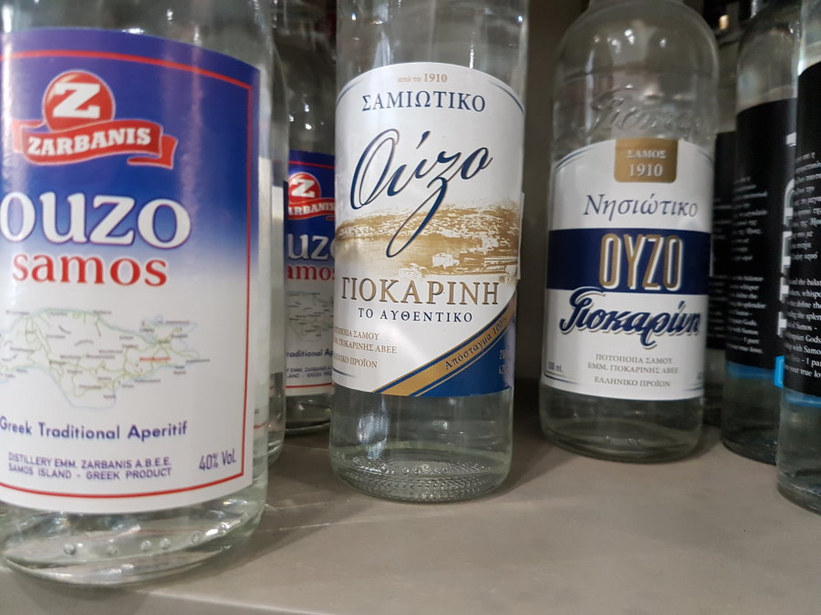 Bottles of Ouzo from Samos in Greece