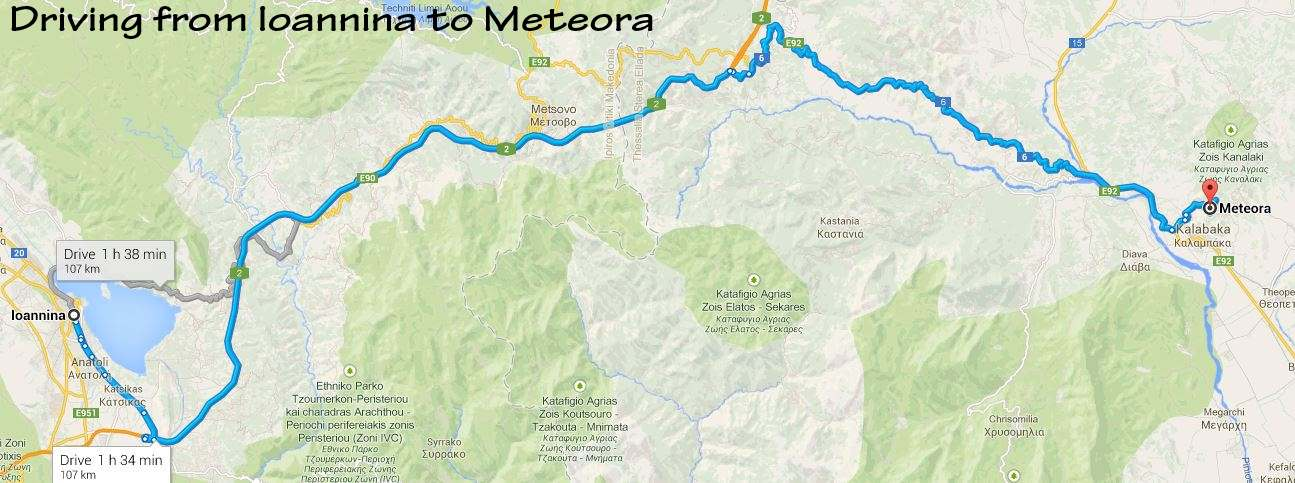 Map of drive from Ioannina to Meteora