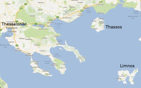 Map showing location of Thassos