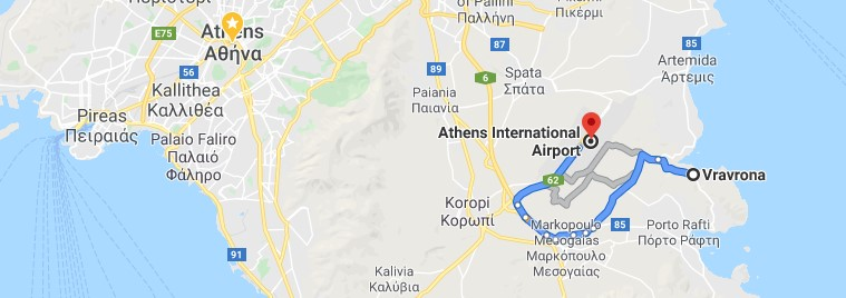 Athens Airport to Vravrona map