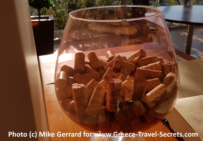 Corks in the tasting room at the Zacharioudakis Winery on Crete