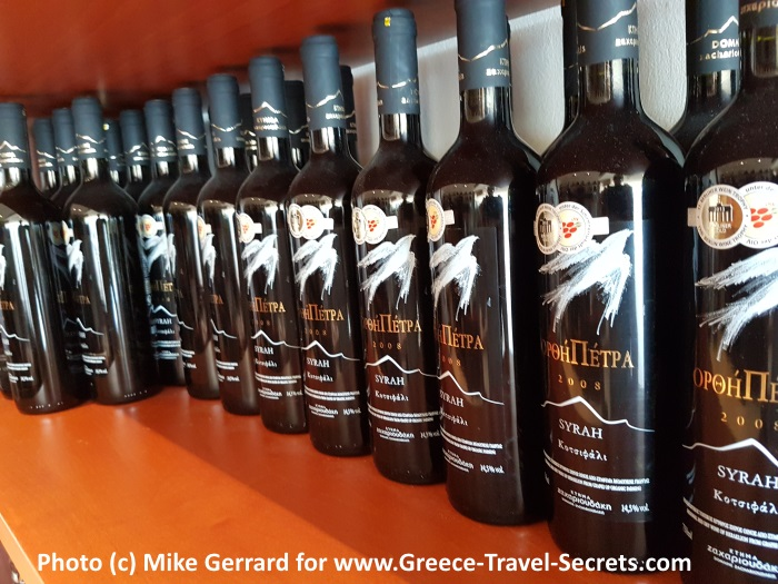 Bottles at the Zacharioudakis Winery on Crete