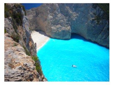 Navagio Beach, or Shipwreck Bay, on Zakynthos in the Ionian Islands of Greece: http://www.greece-travel-secrets.com/Zakynthos.html