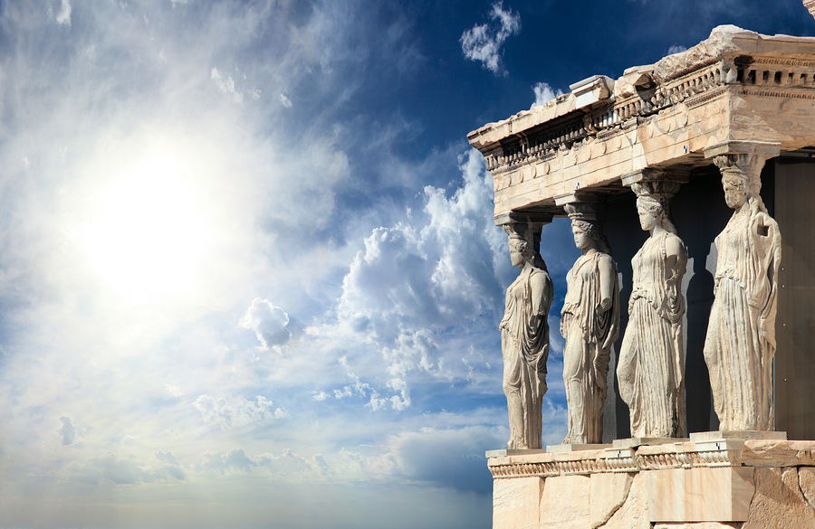 The Caryatids at the Acropolis in Athens, Greece