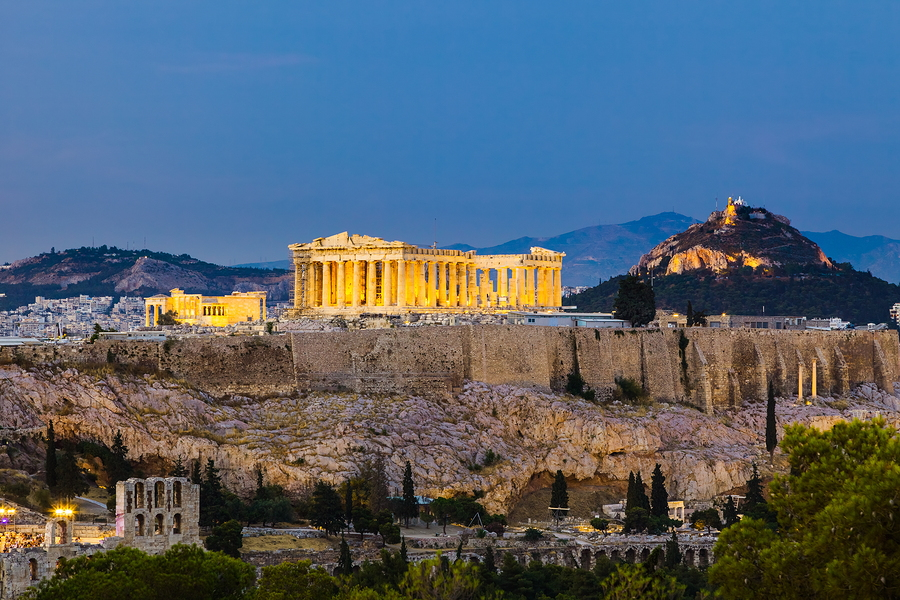 The Parthenon and Acropolis in Athens, Greece