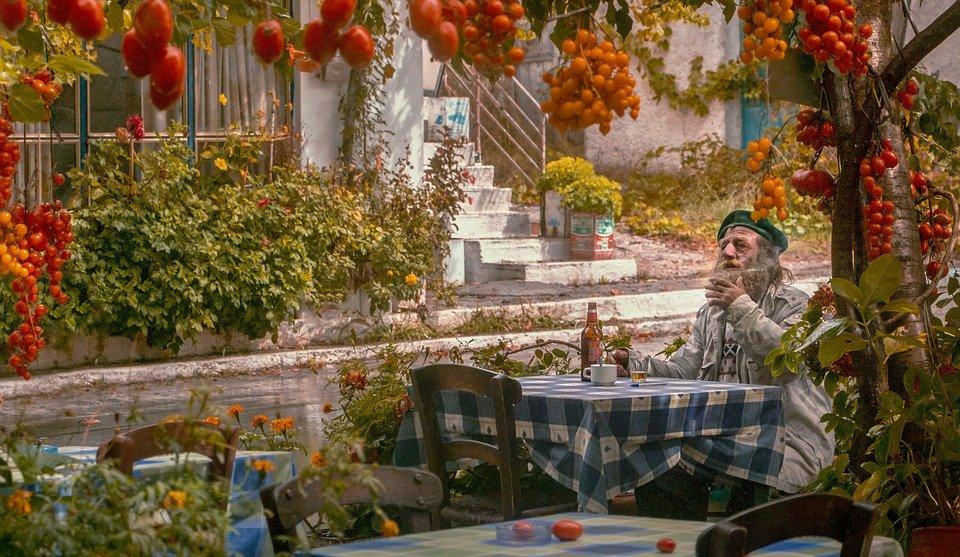 Old man in Athens taverna